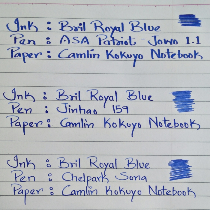 Bril Royal Blue - Writing Sample on Century copy paper (70 gsm) using 3 pens of varying nibs widths
