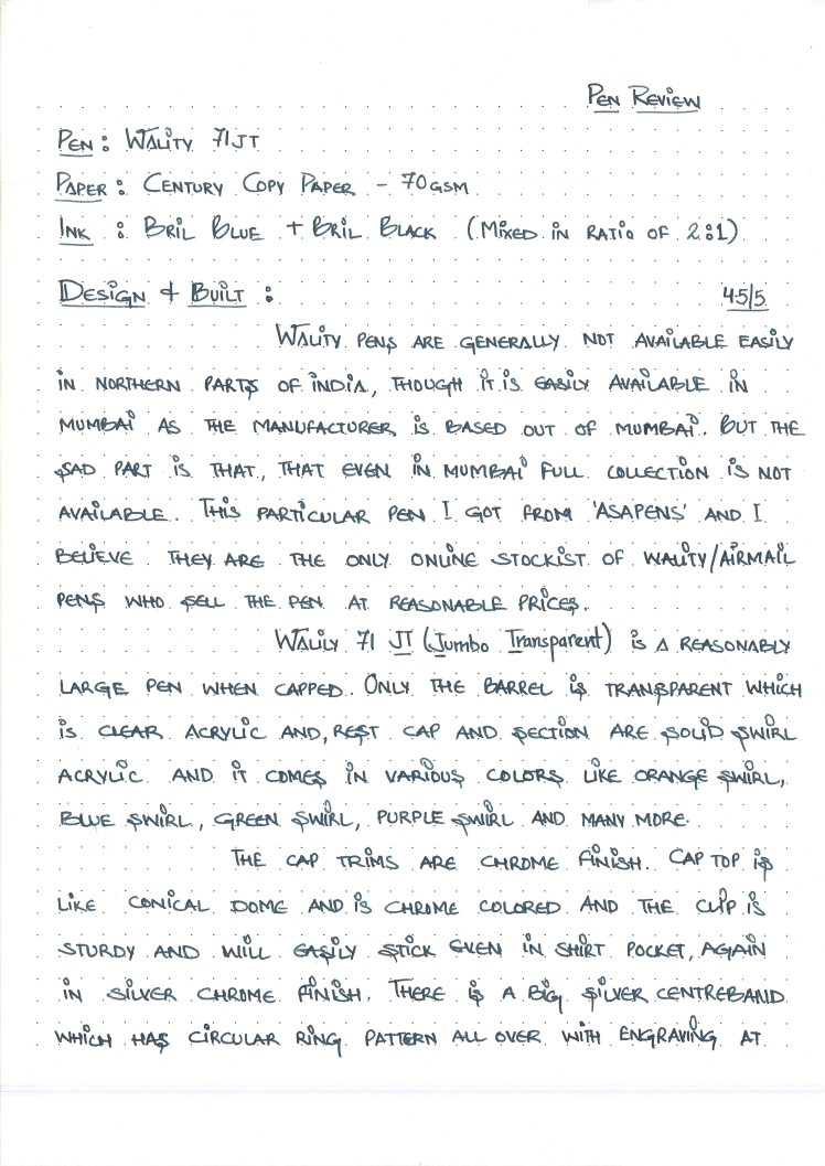 Wality 71 JT - Handwritten  Review Page 1